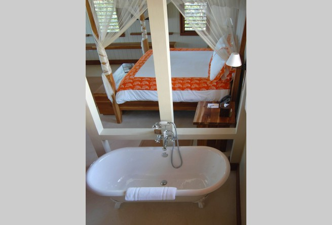 Beach cottage bedroom and bath