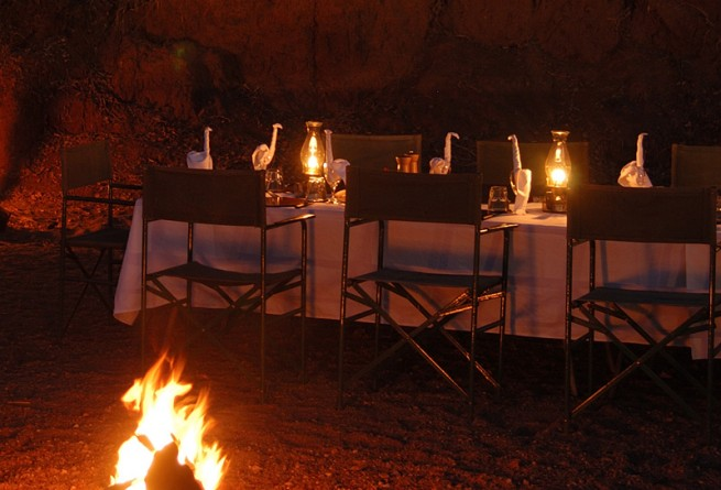 Dining by firelight