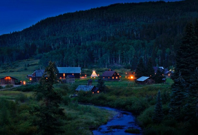 Dunton Hot Springs at night