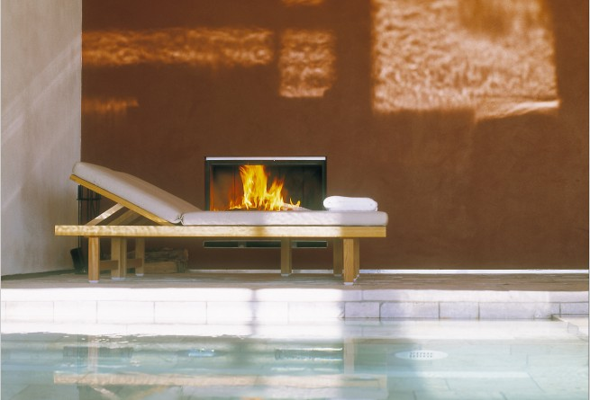 Fireplace at the pool