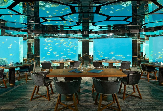 Underwater Dining at Anantara Kihavah Villas, Maldives