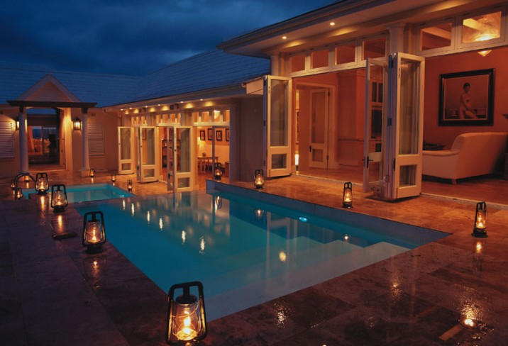 Mr & Mrs Smith - Courtyard pool at night